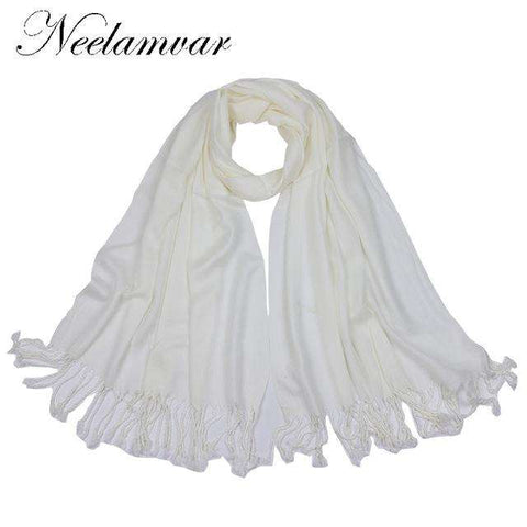 Classical Solid Cotton Tassels Scarf