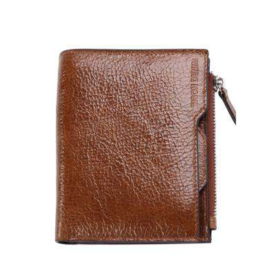 BISON DENIM Cowhide Leather Zipper Slim Thin Wallet