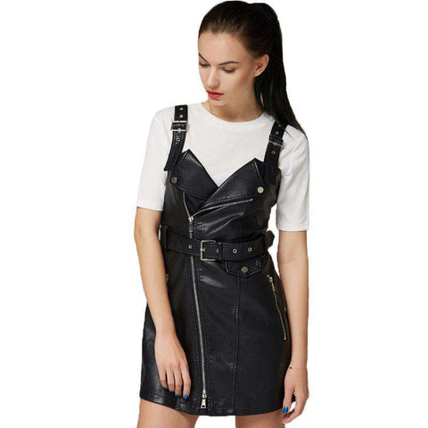 Soft PU Faux Leather Turn-down Collar Slim Retro Black Short Dress