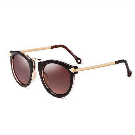 Metal Arrow Designer Flat Lens Retro Round Sunglasses