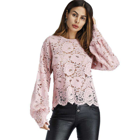 Lantern Sleeve Hollow Lace Round Neck Long Sleeve Floral Pink Top