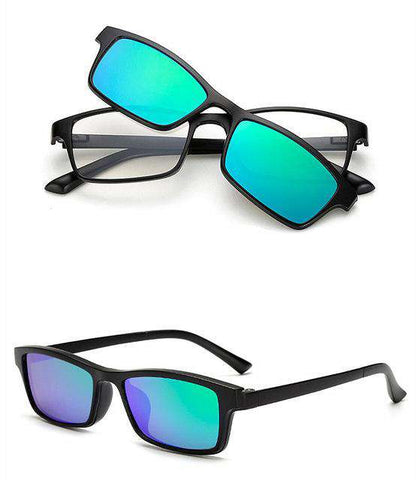 Magnetic Clip On Spectacles Polarised Lens Frame Sunglasses