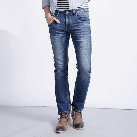 Cotton Ripped Stretchy Blue Denim Mid Full Length Straight Jeans