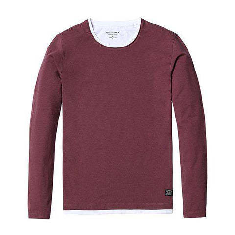 Fake Double Layered Long Sleeve 100% Cotton High Quality Slim Fit Tees