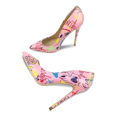 Graffiti Pink High Heels Pointed Toe Pumps Heels Sandals