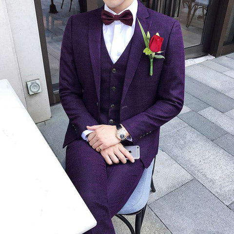 Purple Slim Fit Party Suit