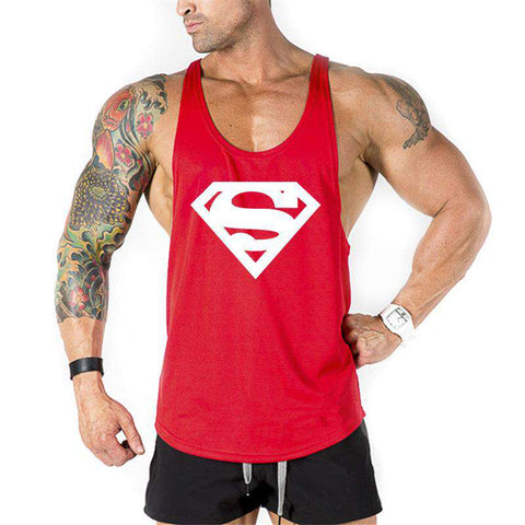 Bodybuilding Stringer Tank Top Superman Sleeveless Fitness Vest Singlet Tshirt