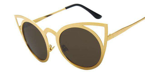 Round Cat eye High Quality Metal Frame Colourful Sunglasses