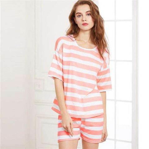 Contrast Striped Pink Round Neck Short Sleeve Pajama Sleepwear Set
