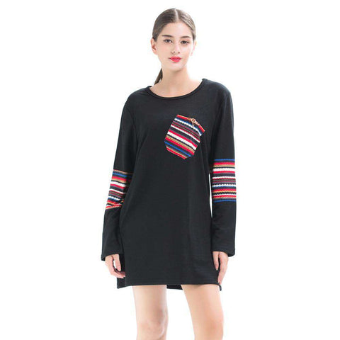 Red Black Long Colourful Stripes Oblique Pocket T-shirts