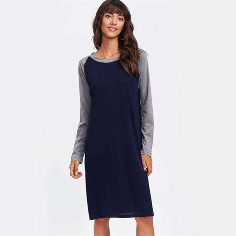 Contrast Marled Raglan Sleeve Knee Length Dress