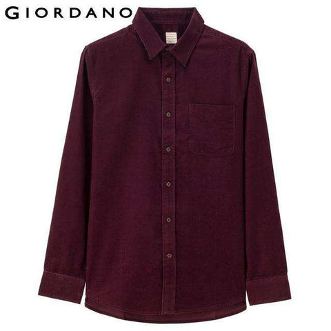 Cotton Corduroy Slim Long Sleeves Button Shirts