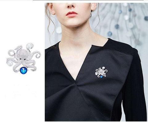 Swarovski Crystals Austrian Rhinestone Fashion Lovely Octopus Shape Brooche