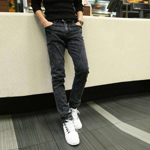 Grey Slim Leisure Zipper Fly Jeans