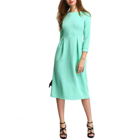 Green Three Quarter Length Sleeve A Line Midi Round Neck Dress