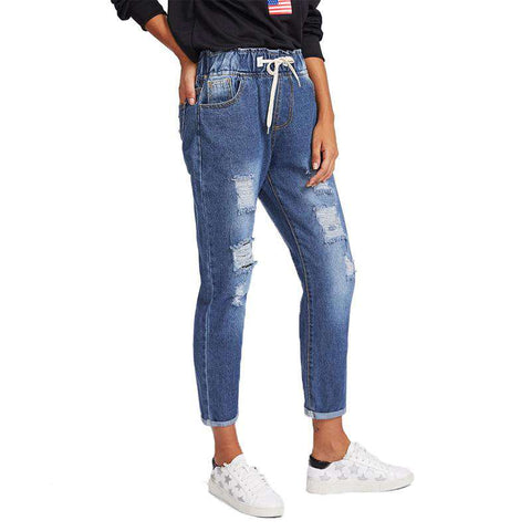 Ripped Cuffed Pockets Mid Waist Drawstring Rolled Up Crop Pants Jeans
