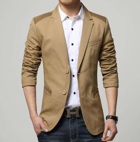 Cotton Splice Slim Fit Two Button Blazer