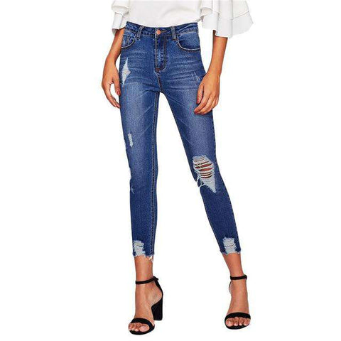 Blue Bleach Wash High Waist Button Fly Ripped Skinny Distressed Rock Denim Jeans