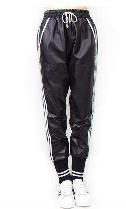Fashion sheepskin genuine Leather Elastic high waist Side stripe Trousers