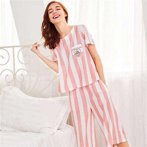 Contrast Stripe Pink Round Neck Short Sleeve Pajama Sleepwear Set