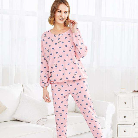 Heart Print Pink Round Neck Long Sleeve Pajama Sleepwear Set