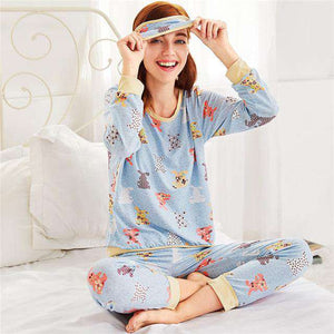 Animal Pattern Round Neck Pajama Sleepwear Set