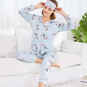 Rabbit Print Striped Long Sleeve Pajama Sleepwear Set