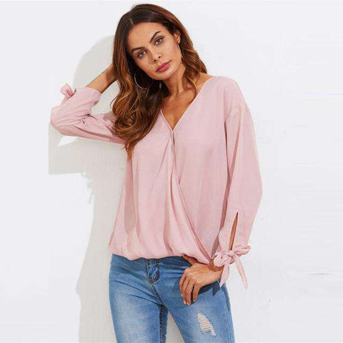 Bowed Cuff Curved Hem Pink V Neck Pleated Long Sleeve Top