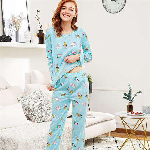 Multicolour Round Neck Long Sleeve Pajama Sleepwear Set
