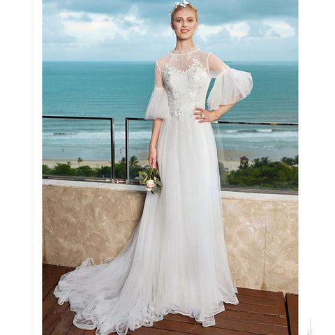 Illusion A-Line O-neck Half Sleeves Court Train Tulle Bridal Gown with Appliques