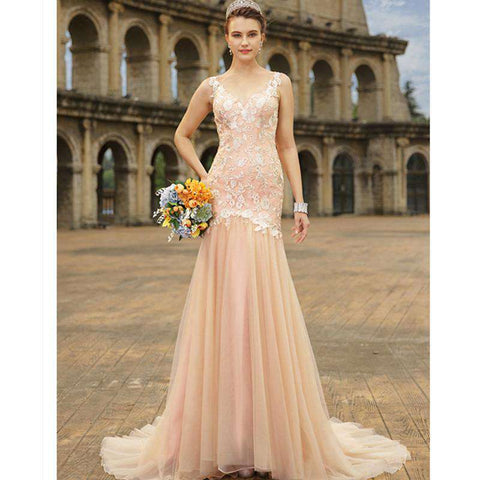 Illusion A-Line V-neck Sleeveless Court Train Lace Tulle Knit Bridal Gown with Appliques Buttons