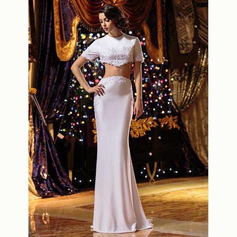 Mermaid Trumpet Two Piece Jewel Neck Sweep Brush Train Knitting Bridal Gown with Beading Appliques