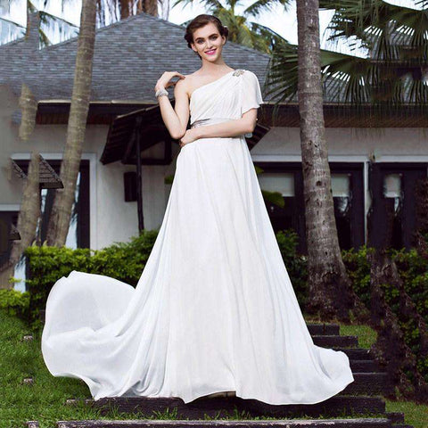 A-Line One Shoulder Sweep Brush Train Stretch Satin Georgette Bridal Gown with Crystal Floral Pin
