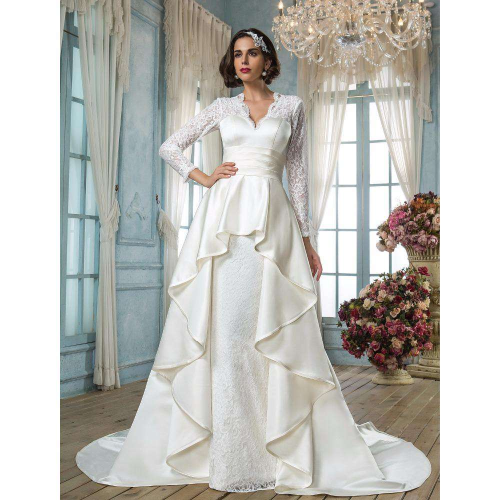 A-Line V-neck Long Sleeves Court Train Lace Satin Bridal Gown with Sash Ribbon