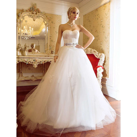 Sweetheart Sweep Brush Train Satin Tulle Bridal Gown with Appliques