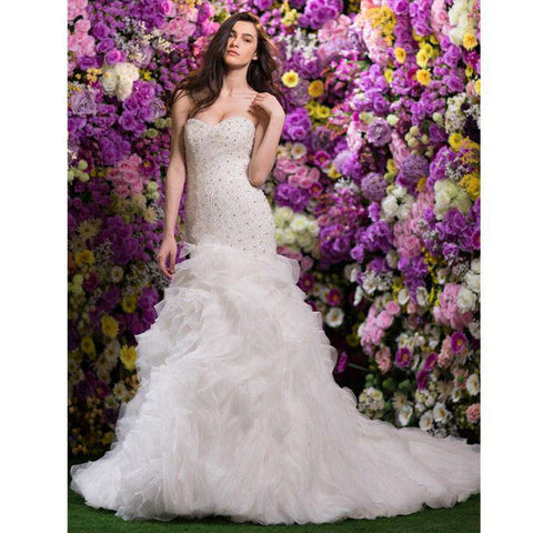 Mermaid / Trumpet Sweetheart Court Train Organza Bridal Gown with Beading Pick-Up