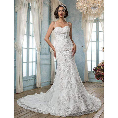 Mermaid Trumpet Spaghetti Straps Chapel Train Tulle Bridal Gown with Beading Appliques