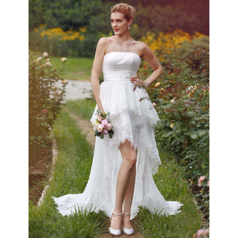 Strapless Asymmetrical Lace Organza Bridal Gown with Appliques Sash Draped Tiered