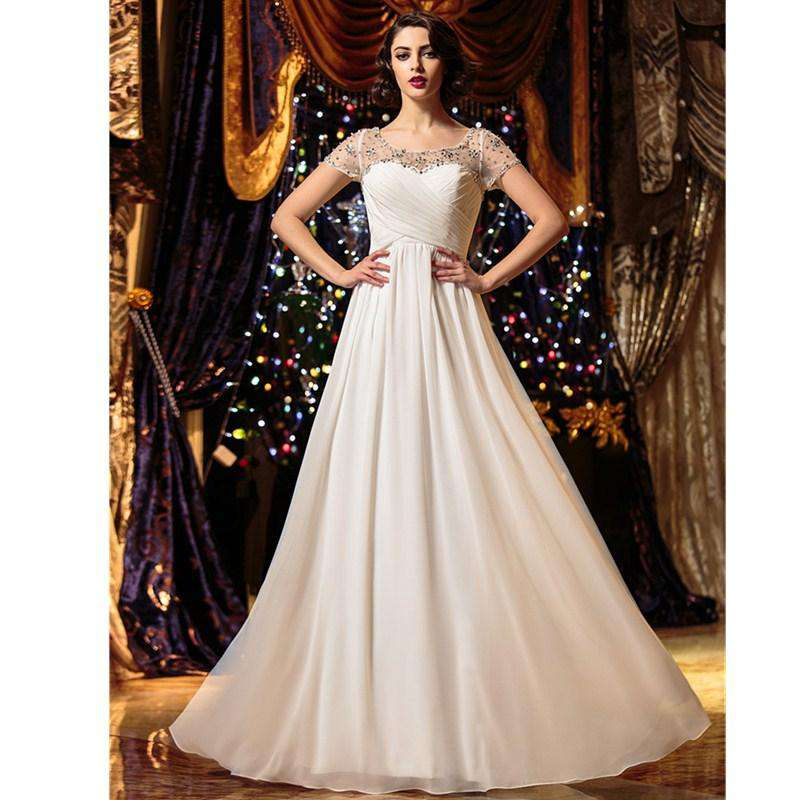 A-Line Scoop Neck Floor Length Chiffon Bridal Gown with Beading Criss-Cross