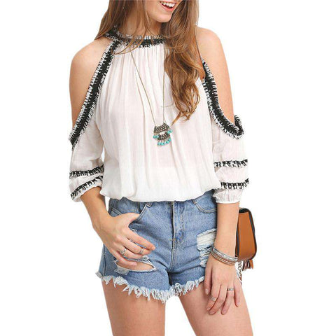 Off Shoulder Sexy White Rayon Crochet Trim Cold Shoulder Top