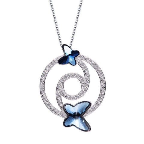 Crystals From Swarovski Necklace Pendants S925 Sterling Silver Jewellery Blue