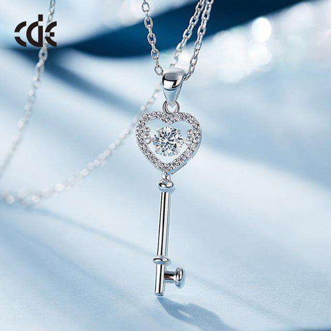 Dancing Stone Austrian Rhinestone S925 Sterling Silver Key Chain Pendant Necklace