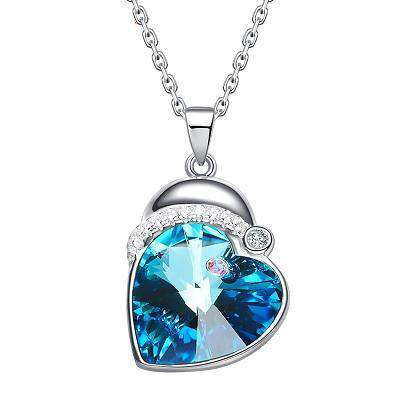Swarovski Crystals 925 Silver Heart Blue Stone necklace