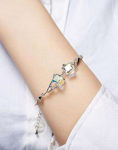 Swarovski Rhodium AB colour crystals fashion shiny Bracelet with charm
