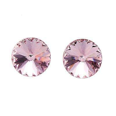 100% 925 Sterling Silver Swarovski Crystals Rhodium Red Pink Round Stud Earrings