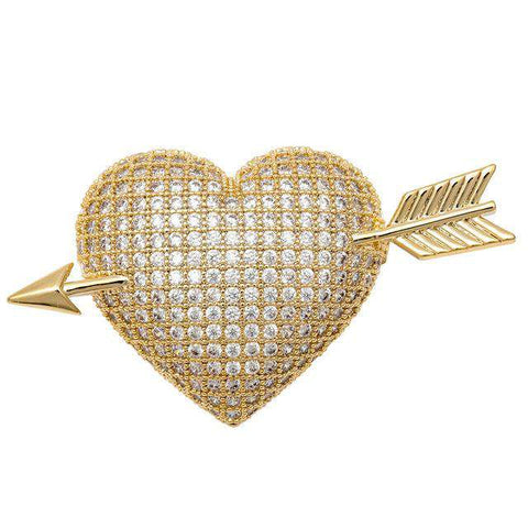 Arrow Heart Cubic Zirconia CZ Gold Silver colour Love Brooch Pin