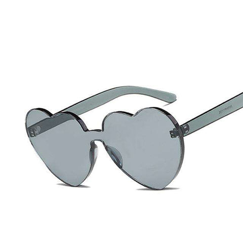 Love Heart Shape Rimless Frame Tint Clear Lens Coloruful Sunglasses