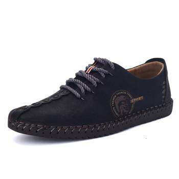 Breathable Comfortable Leather Solid Lace-up Shoes