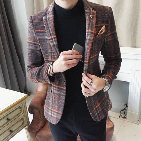 Wool Blended Plaid Pattern Designer Tweed Stylish Slim Fit Blazer