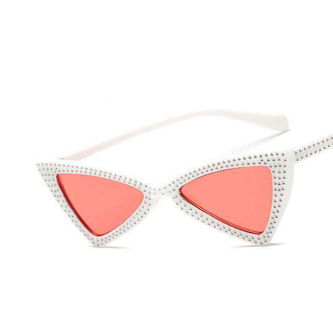 Fashion Luxury Designer Cat Eye Rhinestone Frame Sunglasses